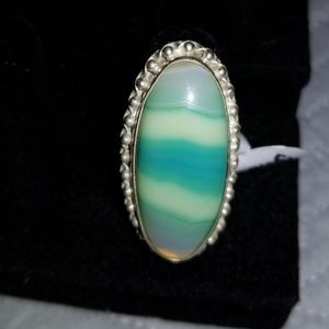 Jewelry - Botswana Agate Sterling Silver Ring Size 6.75